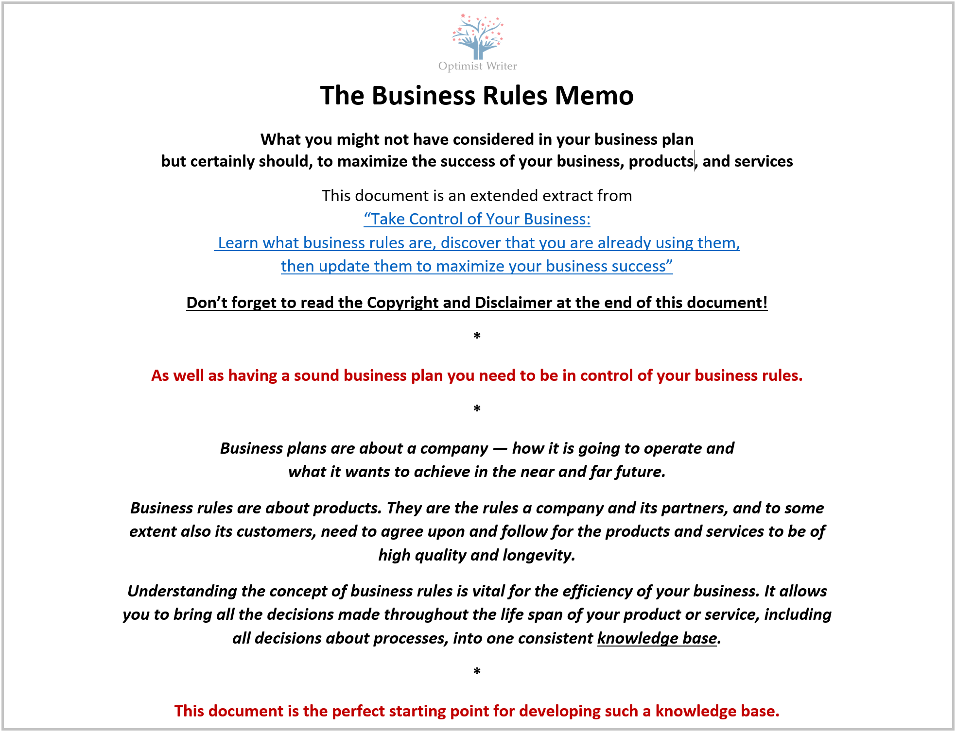 Business Rules Template | Business Rules Memo A New Tool A Template To Help You Get A